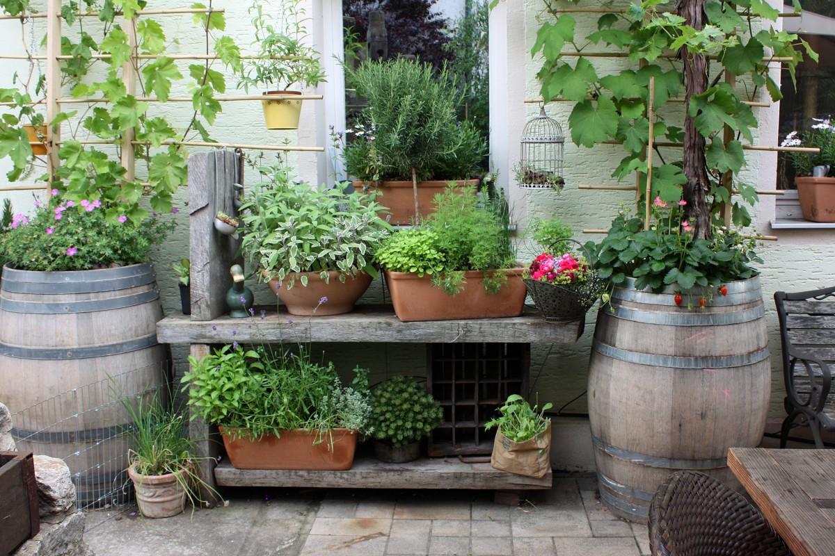 Balkonkästen und kleine Töpfe